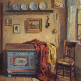 Werner Reuter, Farmhouse Interior With Painted Trunk & Chair