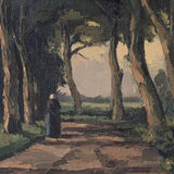 German School, Woodland Track With Trees & Figure