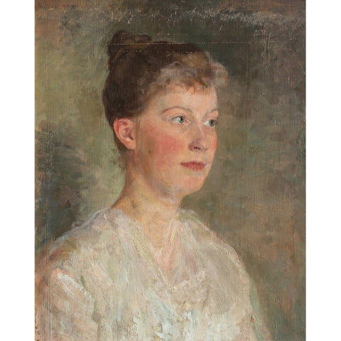 Gustav Wustmann, Portrait Of A Woman In A White Blouse - Original Framed Painting - Antique Art - Brave Fine Art