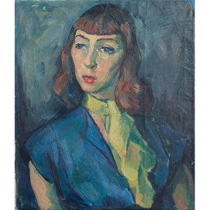 Portrait Of A Woman With A Yellow Necktie - Original Framed Painting - Vintage Art - Brave Fine Art