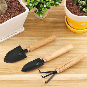 New 3 Pieces Set Mini handy Garden Shovels and Claw Tool with Wooden Handles for potting seed FULI