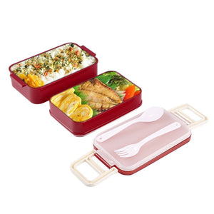 850ml Double Layer Microwave Lunchbox Food Storage Container Lunch Bento Boxes Lunchbox Dinnerware with Cutlery Set & Fork