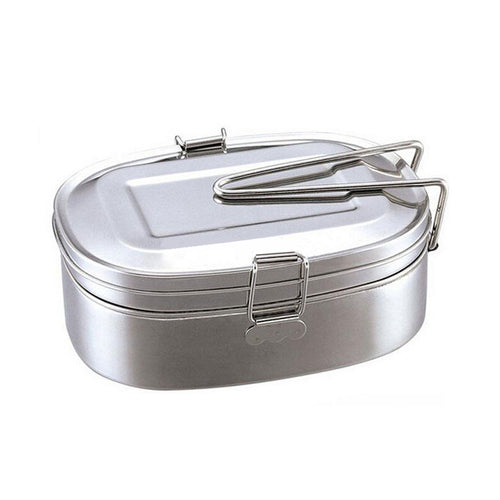 Mayitr Large Stainless Steel Bento Box Container Student Oval Case Dinnerware Food Container 2 Layers For Food Storage