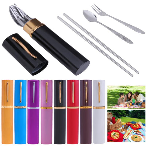 3Pcs/set Stainless Steel Tablewares Portable Chopsticks Fork Spoon Kit Outdoor Picnic Utensils Dinnerwares Camping Travel