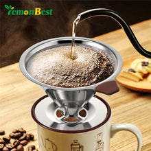 LemonBest Reusable Coffee Filter Holder Sets Stainless Steel Brew Drip Coffee Filter Cone Funnel Metal Mesh Coffee Tea Filter