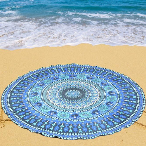 Ocean blue rectangular mandala beach blanket