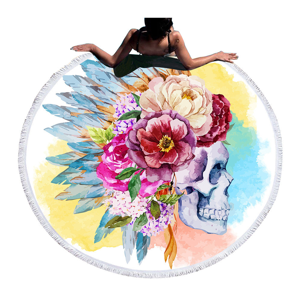 Colorful Skull Round Beach Towel