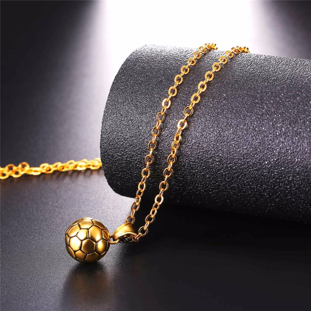 steel football pendant sport pendants necklaces american jewelry from gold color ball fashion men new chain in workout stainless item necklace fitness plated