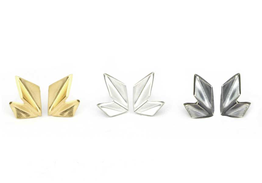 Oblique Tiny Crystal Studs