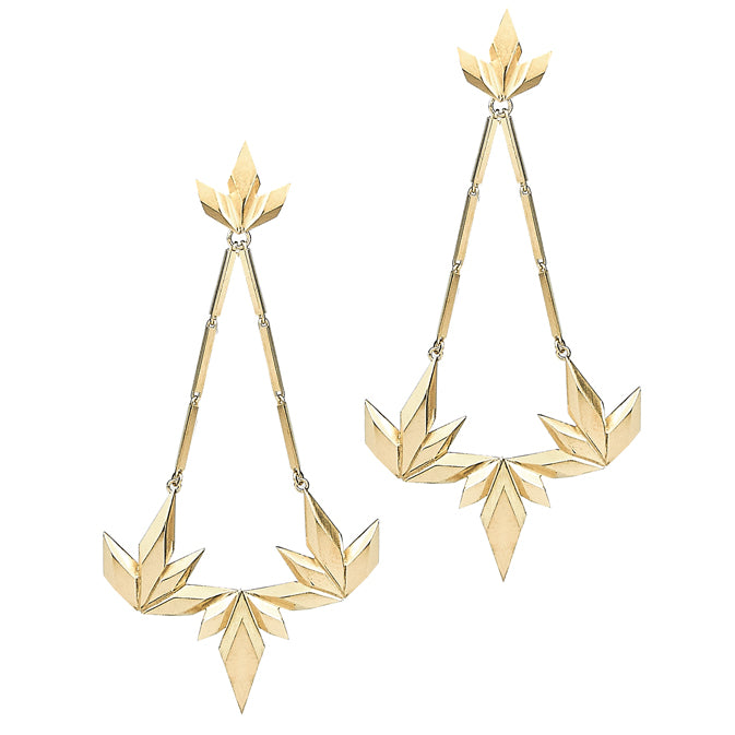 Element, dancing flames statement earrings gold