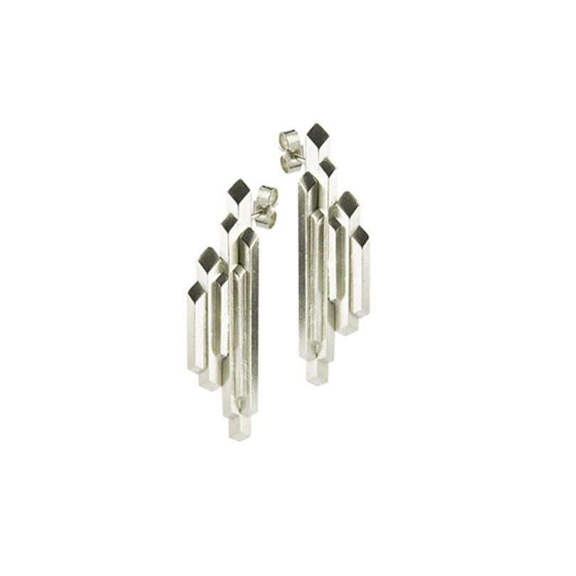 Element stalactite, large earrings solid silver