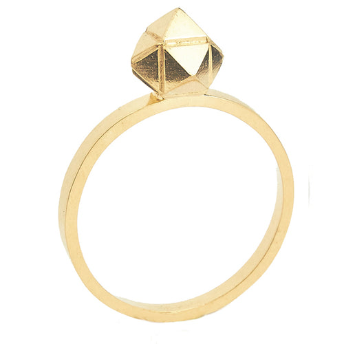 Element, meteorite solitaire ring gold