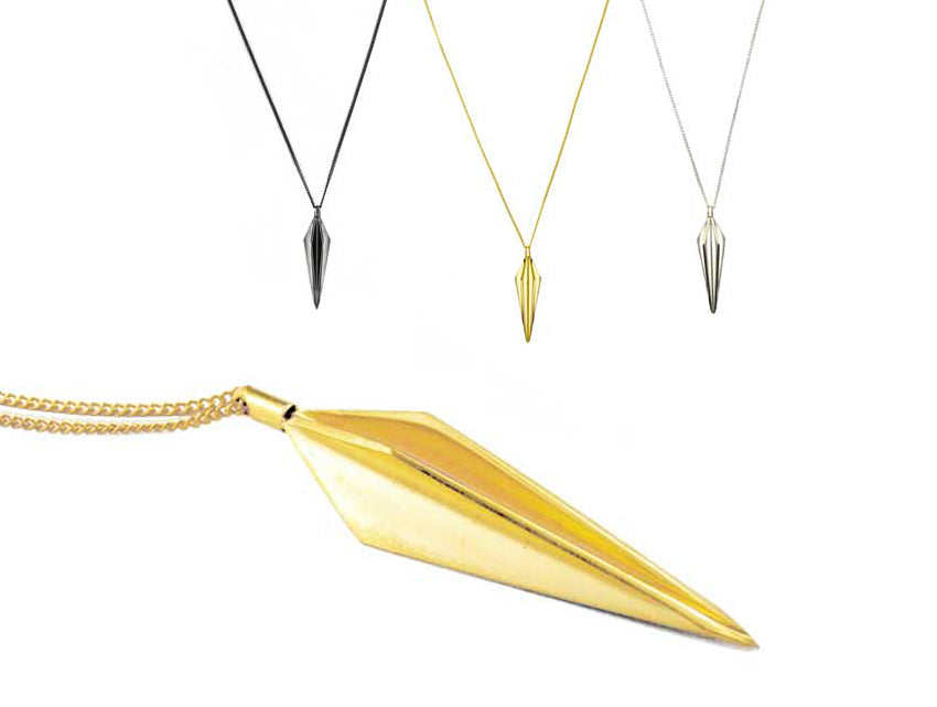 Oblique Long Pendulum Gold, silver or oxidised silver