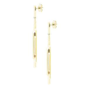 Element, short stalactite drop earrings, gold
