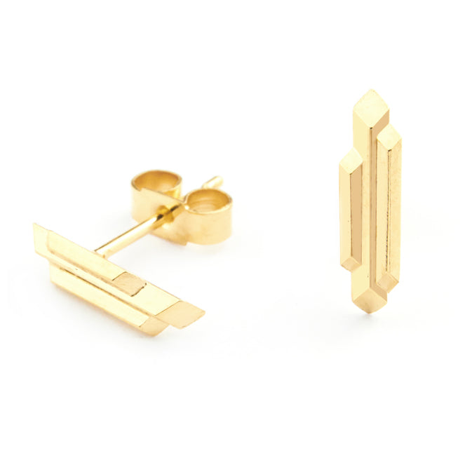 Element, tiny stalactite stud earrings, gold