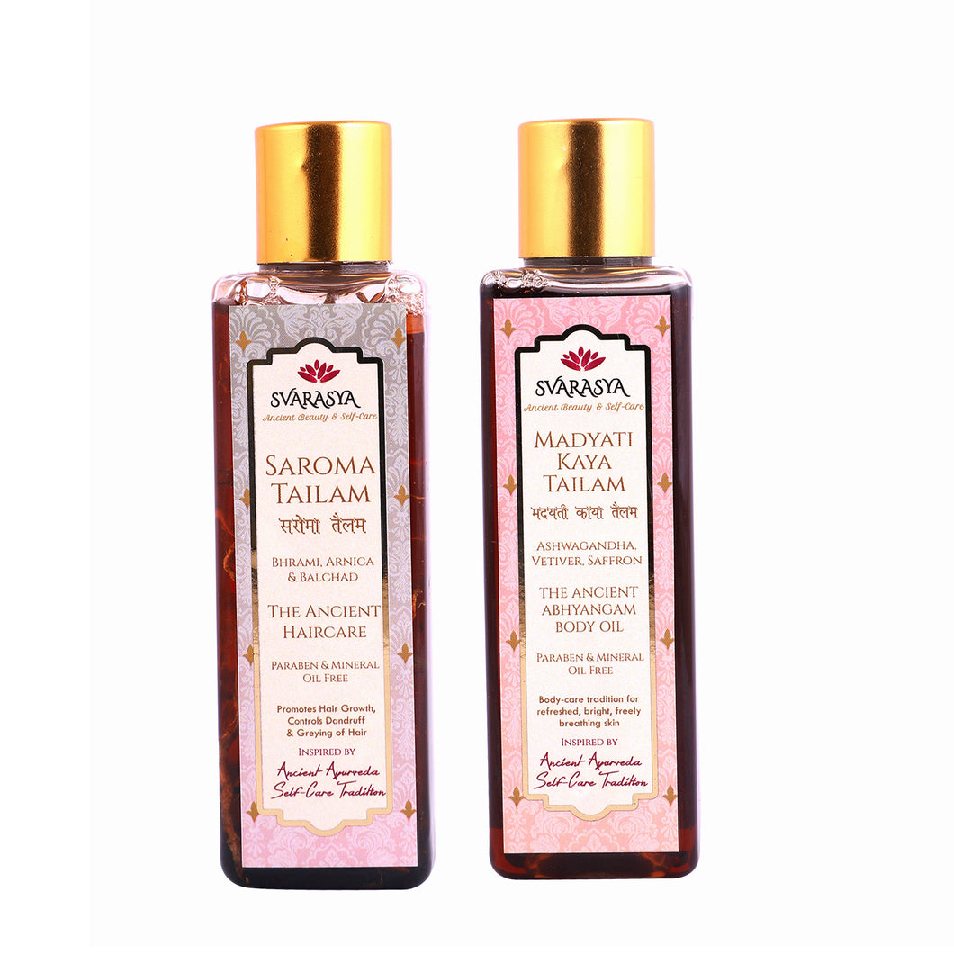 MADYATI KAYA TAILAM FOR BODY & SAROMA TAILAM FOR HAIR (Pack of 2, 100 ml each)