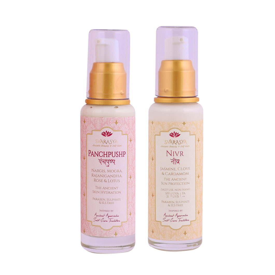 NIVR - NATURAL SUN PROTECTION & PANCHPUSHP - THE ANCIENT SKIN HYDRATION (Pack of 2, 50 ml each)