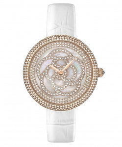 Camelia Pearl Swarovski jewelry watch [White color]