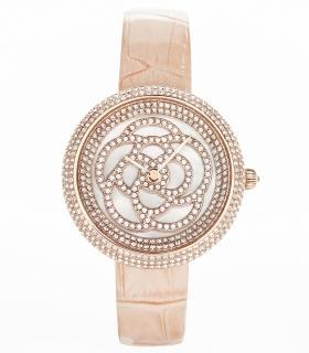 Camelia Pearl Swarovski jewelry watch [Pink color]