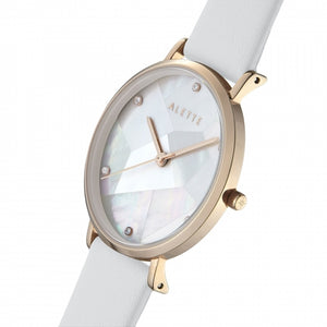 Lily collection White x Rose Gold Light Grey strap