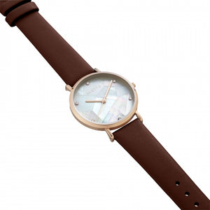 Lily collection White x Rose Gold Brown strap