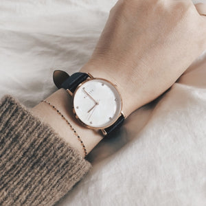 Lily collection White x Rose Gold Black strap