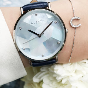 Lily collection CrystalBlue x Silver Navy Strap
