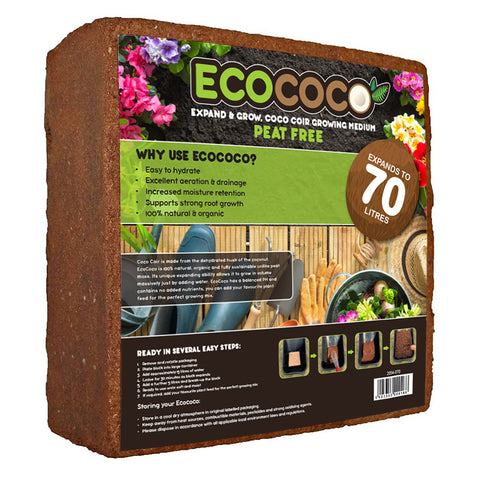 EcoCoco Organic Peat Free Coco Coir Compost Block - Expands to 70 Litres