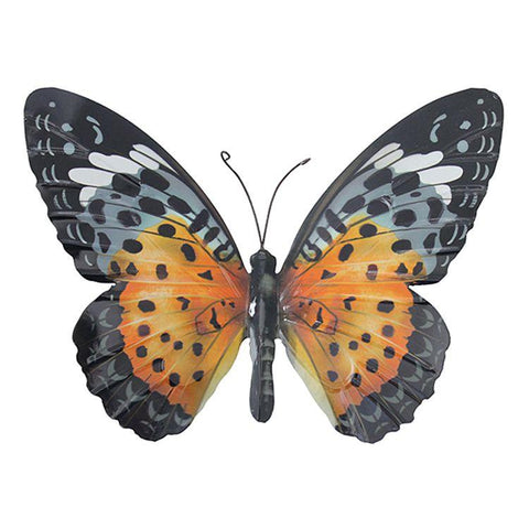 Large Metal Butterfly in Orange and Black