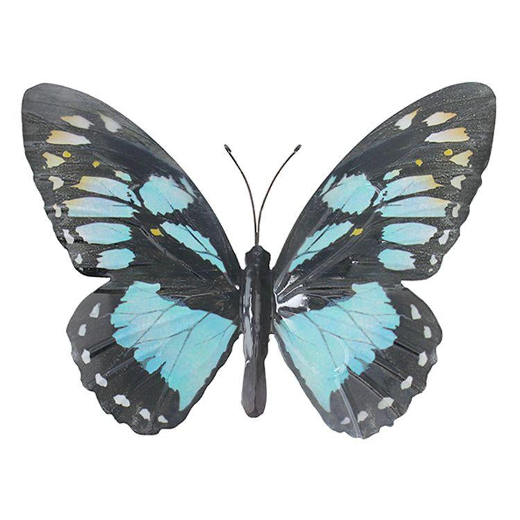 Large Metal Butterfly in Light Blue and Black