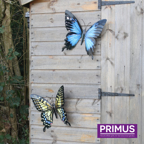 Large Metal Butterfly in Yellow, Blue and Black
