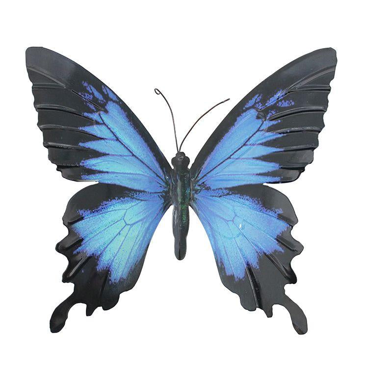 Large Metal Butterfly in Blue and Black