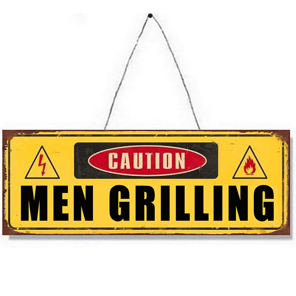 Men Grilling Metal Plaque