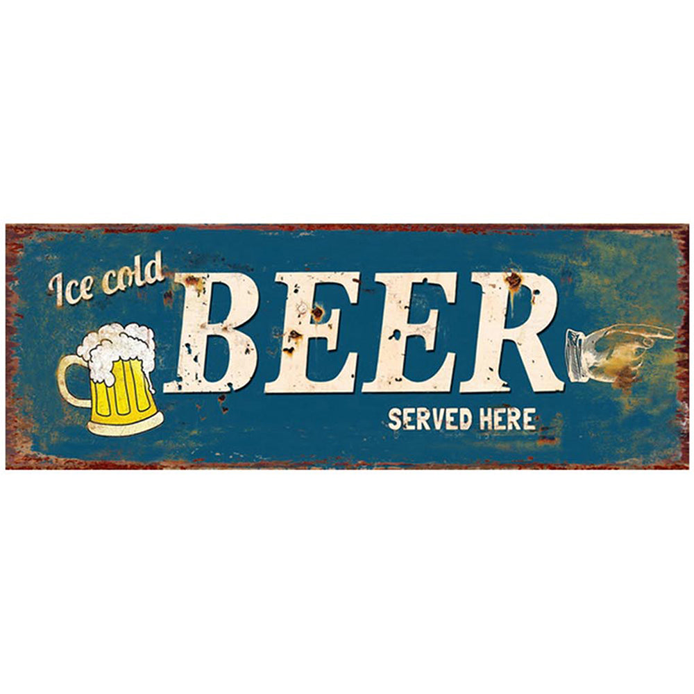 Beer Served Here Metal Plaque