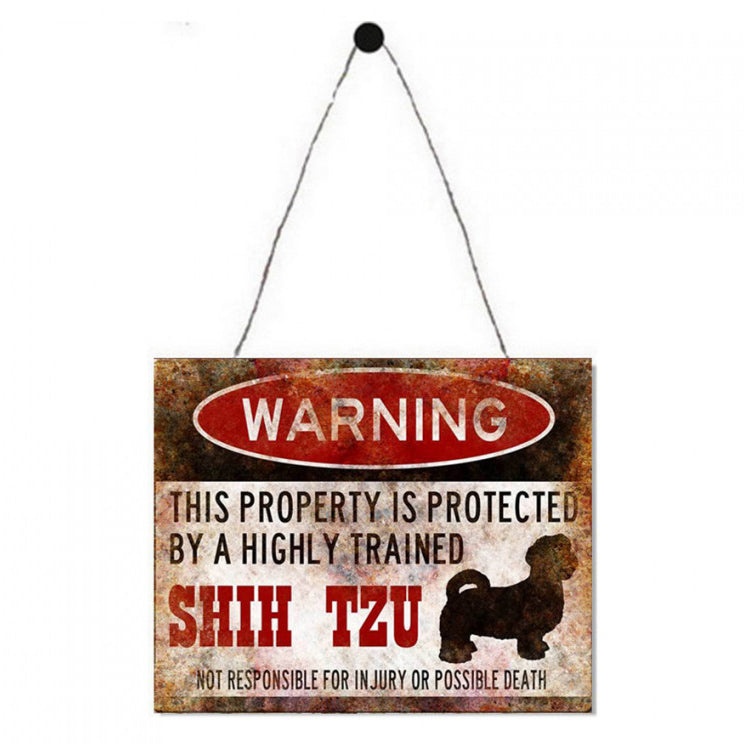 Warning Shih Tzu Metal Plaque