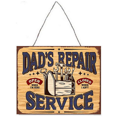 Dad's Repair Service Metal Plaque