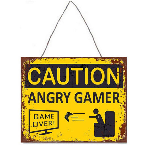 Angry Gamer Metal Plaque