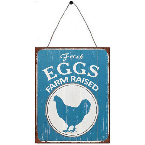 Fresh Eggs Metal Plaque