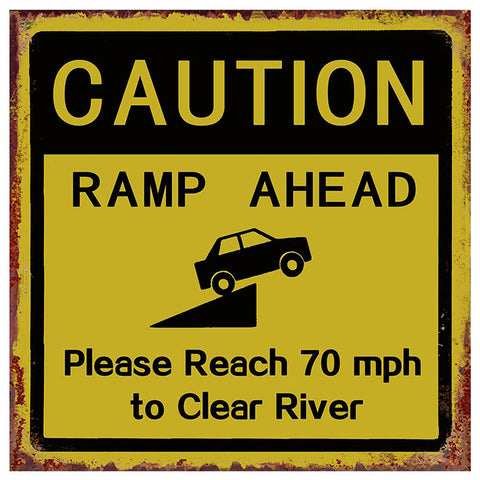 Caution Ramp Ahead Metal Road Sign Plaque