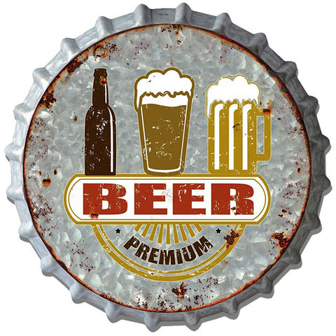 Premium Beer Metal Bottle Cap Plaque