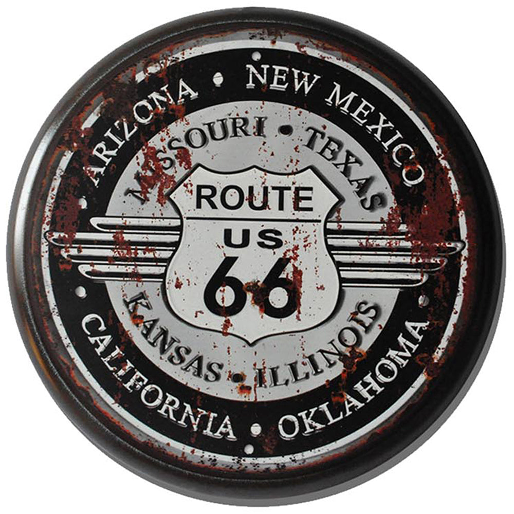 Route 66 Metal Circle Plaque