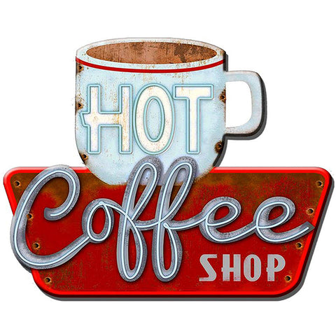 Hot Coffee Shop Metal Plaque