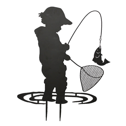 Child Fishing Garden Silhouette with Stake in Black