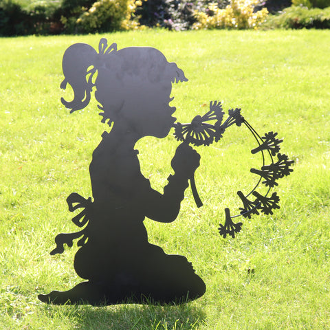 Make A Wish Garden Silhouette with Stake in Black