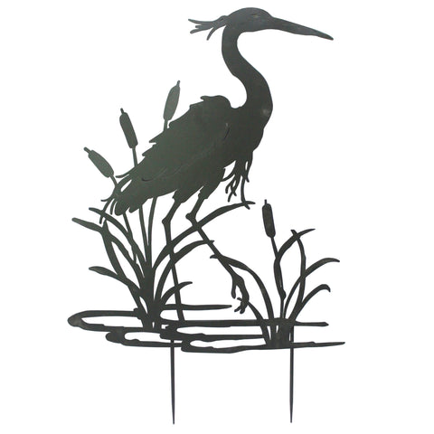 Heron Garden Silhouette with Stake in Black
