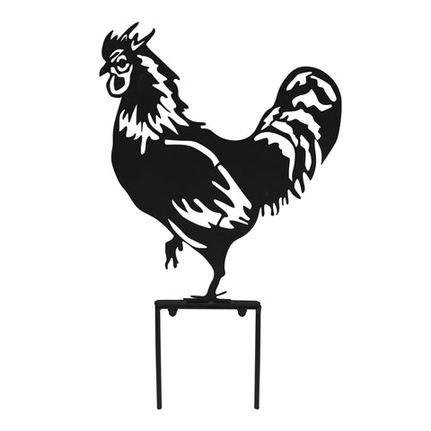 Rooster Garden Silhouette with Stake