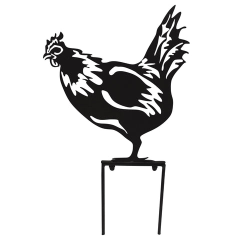 Hen Garden Silhouette with Stake