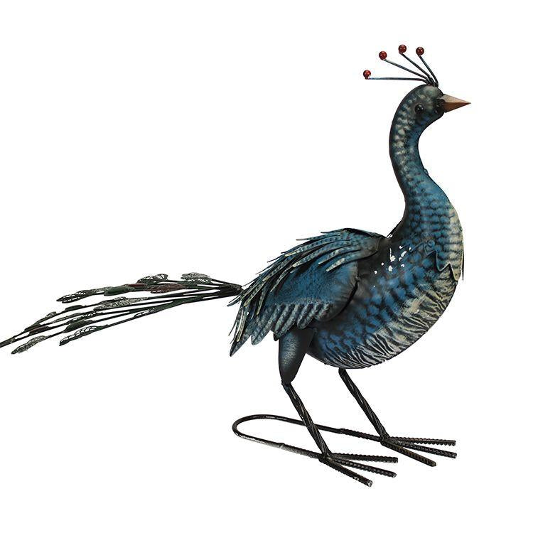 blue metal peacock