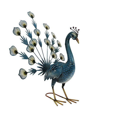 blue metal fantailed peacock