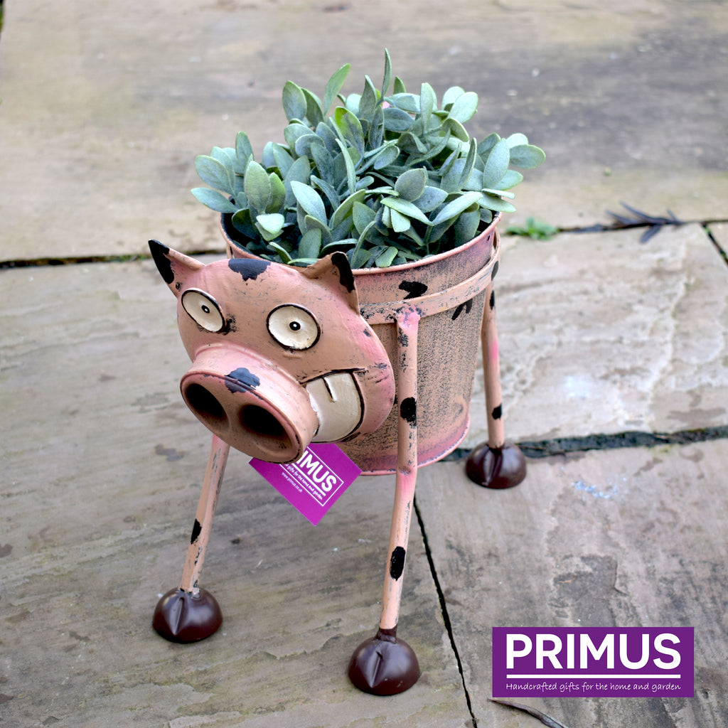 Goofy Dog Nodding Planter Metal Flower Plant Pot by Primus